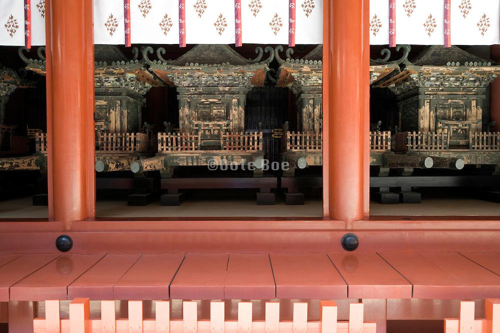 Mikoshi, portable Shinto shrines, in storage at the Tsurugaoka Hachimangu shrine Kamakura, Japan