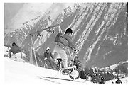 Cosmo Hulton on excercise bike, Dangerous Sports club ski race, St. Moritz. 1985. © Copyright Photograph by Dafydd Jones 66 Stockwell Park Rd. London SW9 0DA Tel 020 7733 0108 www.dafjones.com