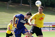 Otago's Jose Cantillo in in action with Waikato's . Michael Mayne during their round 14 match in Hamilton. NZFC, ASB Premiership football match, Waikato FC v  Otago United at Porritt Park, Hamilton, New Zealand. Sunday 25th March. Photo: Dion Mellow / photosport.co.nz