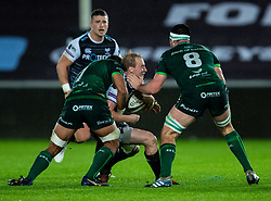Luke Price of Ospreys is tackled by Jarrad Butler of Connacht<br /> <br /> Photographer Simon King/Replay Images<br /> <br /> Guinness PRO14 Round 6 - Ospreys v Connacht - Saturday 2nd November 2019 - Liberty Stadium - Swansea<br /> <br /> World Copyright © Replay Images . All rights reserved. info@replayimages.co.uk - http://replayimages.co.uk