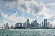 The Miami skyline, viewed from Biscayne Bay.