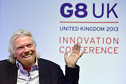 © Licensed to London News Pictures. 14/06/2013. London, UK Richard Branson attends G8 Innovation Conference at the Siemens Crystal Building in London today 14th June 2013. As part of UK's G8 Presidency, the G8 Innovation Conference brings together 300 leading international entrepreneurs, researchers, scientists, designers and policy makers. Photo credit : Stephen Simpson/LNP