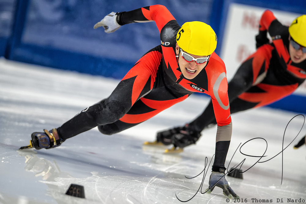 March 18, 2016 - Verona, WI - Brandon Molenda, skater number 15 competes in US Speedskating Short Track Age Group Nationals and AmCup Final held at the Verona Ice Arena.