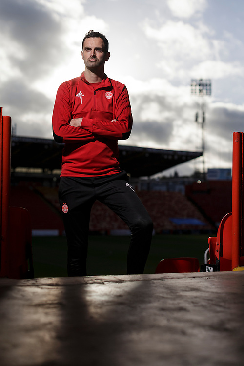 Thursday 8th November 2018, Aberdeen, Scotland. Aberdeen FC Press Conference ahead of the Ladbrokes SPFL Premiership match against Hibs on Friday evening at Pittodrie.<br /> <br /> Pictured: Goalkeeper Joe Lewis<br /> <br /> (Photo: Ross Johnston/Newsline Media)
