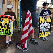 Members of the Westboro Baptist Church demonstrate in Los Angeles. Picketing Yeshiva University Girls High School, a jewish high school.