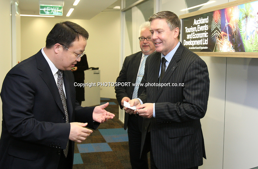 Shui Yong, Deputy Director DIPB, is greeted by Brett O'Riley, CEO of ATEED, at the Signing of Agreement between Auckland Tourism, Events and Economic Development and the Beijing Investment Promotion Board, Auckland, New Zealand. Saturday 12th May 2012. Photo: Wayne Drought / photosport.co.nz