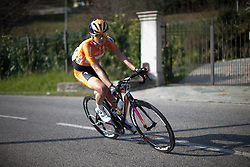 Katarzyna Pawlowska (Boels-Dolmans Cycling Team) descends in the second, short lap of Trofeo Alfredo Binda - a 123.3km road race from Gavirate to Cittiglio on March 20, 2016 in Varese, Italy.