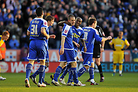 Photo: Tony Oudot/Richard Lane Photography. Leicester City v Southend United. Coca-Cola Football League One. 06/12/2008. <br /> GOAL!  Matty Fryatt of Leicester City celebrates the first goal with teammates