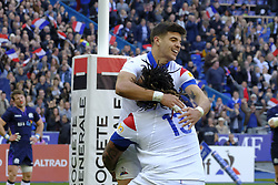 February 23, 2019 - Saint Denis, Seine Saint Denis, France - Joy of the Fly-Half of French Team ROMAIN NTAMACK after his first try during the Guinness Six Nations Rugby tournament between France and Scotland at the Stade de France - St Denis - France..France won 27-10 (Credit Image: © Pierre Stevenin/ZUMA Wire)