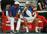 Lucas Pouille and Coach Yannick Noah (French) during the 2018 Davis Cup, semi final tennis match between France and Spain on September 14, 2018 at Pierre Mauroy stadium in Lille, France - Photo Laurent Lairys / ProSportsImages / DPPI
