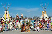CANADIAN PLAINS INDIANS INCLUDING SIOUX, DAKATO, DENE AND CREE,  WEARING A TRADITIONAL COSTUMES AT WANUSKEWIN.HERITAGE PARK, SASKATOON, CANADA