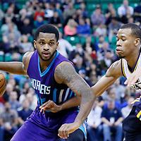 27 January 2016: Charlotte Hornets guard Troy Daniels (30) drives past Utah Jazz guard Rodney Hood (5) during the Utah Jazz 102-73 victory over the Charlotte Hornets, at the Vivint Smart Home Arena, Salt Lake City, Utah, USA.