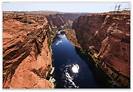 The Colorado River flowing through Glen Canyon just below the Glen Canyon Dam and Lake Powell, Page Arizona, USA