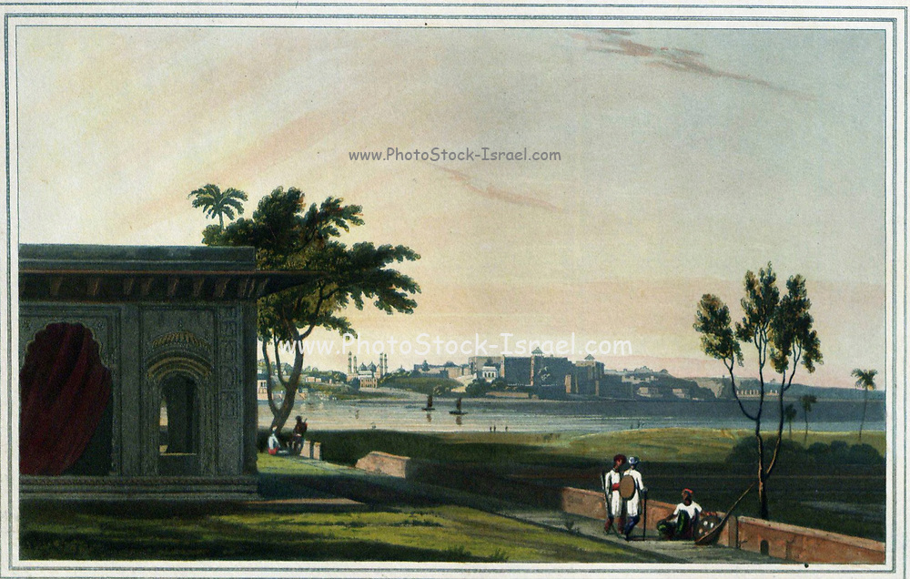 View of Mutura, on the river Jumna, 1801 This view of the ancient city of Mathura, one of the seven holy cities of Hinduism, is taken from a garden pavilion on the opposite bank of the river Jumna. Mathura is particularly associated wtih the exploits of the Hindu god Krishna. The principal buildings visible are the fort built by Raja Man Singh of Amber at the beginning of the 17th century, and the Jami Masjid with its four minarets, which was erected 1660-1668 by Aurangzeb's governor 'Abd al-Nabi Khan. From the book ' Oriental scenery: one hundred and fifty views of the architecture, antiquities and landscape scenery of Hindoostan ' by Thomas Daniell, and William Daniell, Published in London by the Authors May 1, 1813