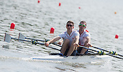 Poznan. Poland. GBR LM2X, Bow: Richard CHAMBERs and William FLETCHER, FISA 2015 European Rowing Championships. Venue Lake Malta. 29.05.2015. [Mandatory Credit: Peter Spurrier/Intersport-images.com]