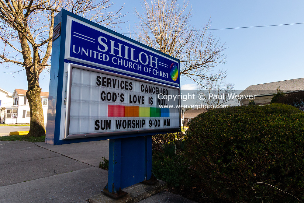 The sign in front of the Shiloh United Church of Christ in Danville, Pennsylvania alerts congregants that sevices are canceled due to the COVID-19 pandemic.