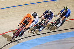March 2, 2018 - Apeldoorn, Netherlands - Netherland's Jan Willem Van Schip (in orange) competes during the men's points race final during the UCI Track Cycling World Championships in Apeldoorn on March 2, 2018. (Credit Image: © Foto Olimpik/NurPhoto via ZUMA Press)