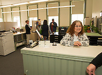 Leona Jean chats with visitors to the Town Hall offices at Gilmanton Academy building during their open house on Saturday.  (Karen Bobotas/for the Laconia Daily Sun)