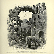 Engraving on Wood of Tomb at Kedes, the ancient Kedesh Naphtali from Picturesque Palestine, Sinai and Egypt by Wilson, Charles William, Sir, 1836-1905; Lane-Poole, Stanley, 1854-1931 Volume 2. Published in New York by D. Appleton in 1881-1884