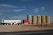 Trucks at a fracking industry site in Permian Basin in West Texas.