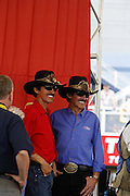 Richard Petty with a statue at a NASCAR race at the Las Vegas Motor Speedway, Las Vegas, Nevada.