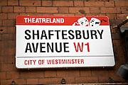 Street sign Shaftesbury Avenue, Theatreland, London, W1, England, City of Westminster