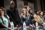 From left, OqueStrada, Seal, Sarah Jessica Parker, Gerard Butler, Jennifer Hudson, Ne-Yo and Laleh during a press conference for the Nobel Peace Prize concert in Oslo.