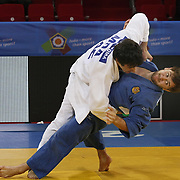 Rusia's Sirazhudin MAGOMEDOV (R) and MDA's Sergiu TOMA (L) during their men's 81 kg. category bout at the European Judo Championships in the Abdi Ipekci Arena, Istanbul, Turkey on 22 April 2011. Photo by TURKPIX