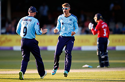 Yorkshire's Karl Carver celebrates bowling Essex's Simon Harmer for 9 during the One Day Cup, Quarter Final at the Cloudfm County Ground, Essex.