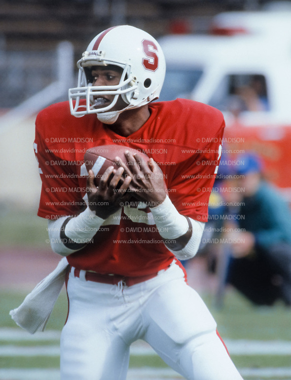 COLLEGE FOOTBALL:  Mike Tolliver, #26, wide receiver, Stanford, Nov 1981.  Photograph by David Madison   www.davidmadison.com.