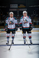 KELOWNA, CANADA - FEBRUARY 10: Brothers Reid Gardiner #23 and Erik Gardiner #12 of the Kelowna Rockets stand on the blue line against the Vancouver Giants  on February 10, 2017 at Prospera Place in Kelowna, British Columbia, Canada.  (Photo by Marissa Baecker/Shoot the Breeze)  *** Local Caption ***