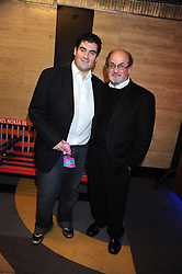 Left to right, ZAFAR RUSHDIE and his father SIR SALMAN RUSHDIE at the launch of Nokia's 'Comes With Music' held at the Bloomsbury Ballroom, 37-63 Bloomsbury Square, London WC1 on 21st October 2008.