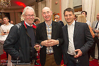 (l to r) Bob Hobby, Frank Miller, and Owen Laverty at the reunion night to celebrate 50 years of the Irish Fireball Class, held at the Royal St George YC.