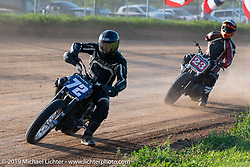 Hooligan flattracker (no. 72) Josh Young on his Harley-Davidson racer in the Spirit of Sturgis races at the fairgrounds during the Sturgis Black Hills Motorcycle Rally. Sturgis, SD, USA. Monday, August 5, 2019. Photography ©2019 Michael Lichter.