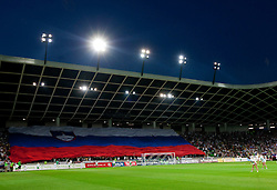 Big Slovenian flag during the opening friendly football match at a new stadium in Stozice between National teams of Slovenia and Australia on August 11, 2010 in Ljubljana. Slovenia defeated Australia 2-0. (Photo by Vid Ponikvar / Sportida)