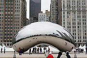 Chicago Illinois USA, Cloud Gate AKA The Bean at Millennium Park Designed by Anish Kapoor and dedicated in May 2006. Stainless steel plates over a fortified steel frame 66 feet long, 33 feet high, 42 feet wide, Weight: 110-tons. October 2006