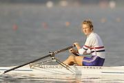 Bled, Slovenia, YUGOSLAVIA. GBR LW1X, Caroline [LUCAS] DEZI 1989 World Rowing Championships, Lake Bled. [Mandatory Credit. Peter Spurrier/Intersport Images]