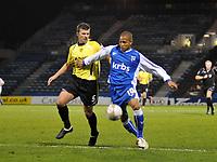 Photo: Tony Oudot/Richard Lane Photography. Gillingham v Burton Albion. FA Cup 2nd Round. 28/11/2009. <br /> Simeon Jackson of Gillingham with Tony James of Burton