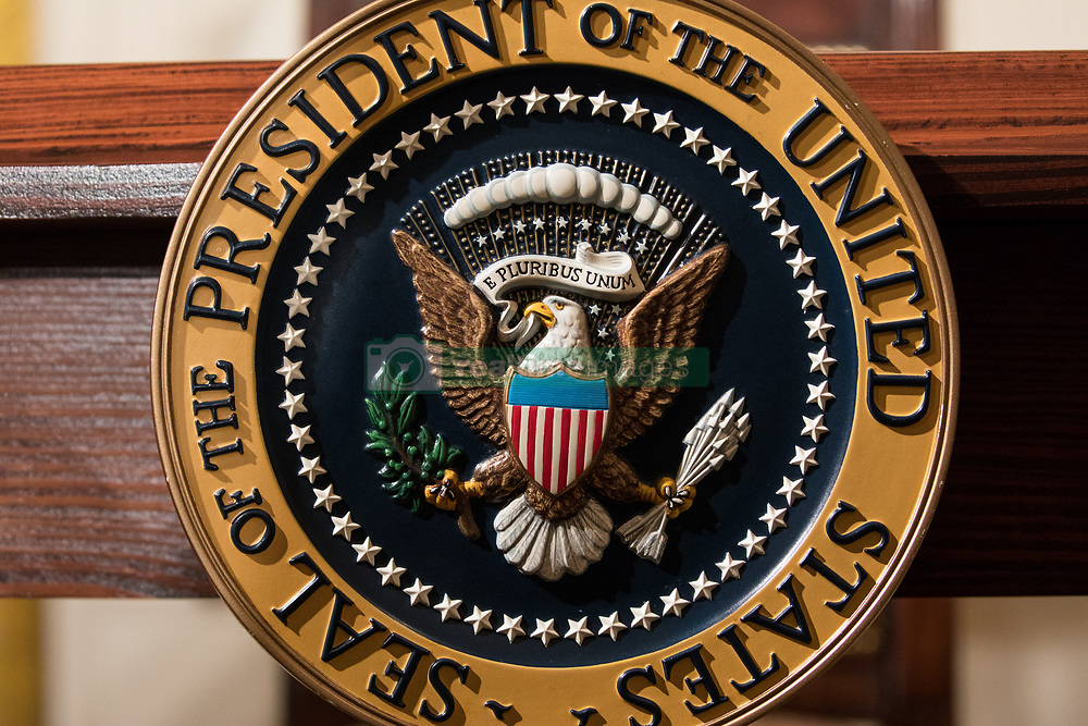 June 23, 2017 - Washington, DC, United States - The table with the Presidential seal where President Donald Trump will sign the Department of Veterans Affairs Accountability and Whistleblower Protection Act of 2017, in the East Room of the White House, on Friday, June 23, 2017. (Credit Image: © Cheriss May/NurPhoto via ZUMA Press)