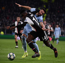 TURIN, Nov. 27, 2019  FC Juventus' Blaise Matuidi (Front) vies with Atletico Madrid's Hector Herrera during the UEFA Champions League Group D match between FC Juventus and Atletico Madrid in Turin, Italy, Nov. 26, 2019. (Photo by Federico Tardito/Xinhua) (Credit Image: © Cheng Tingting/Xinhua via ZUMA Wire)