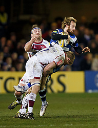 Bath Full Back Nick Abendanon, on his 200th club appearance, is tackled by Sale Flanker David Seymour - Photo mandatory by-line: Rogan Thomson/JMP - 07966 386802 - 28/03/2014 - SPORT - RUGBY UNION - The Recreation Ground, Bath - Bath Rugby v Sale Sharks - Aviva Premiership.