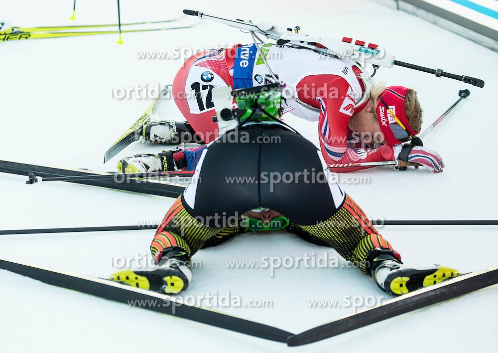 Tiril Eckhoff (NOR) and Laura Dahlmeier (GER)  during Women 12.5 km Mass Start at day 4 of IBU Biathlon World Cup 2015/16 Pokljuka, on December 20, 2015 in Rudno polje, Pokljuka, Slovenia. Photo by Vid Ponikvar / Sportida