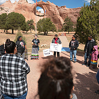 A gathering of people at the Navajo Tribal Park & Veteran's Memorial in Window Rock Monday, Oct. 14 for Indigenous Peoples Day.