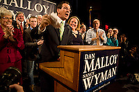 HARTFORD, CT - 02 NOVEMBER 2010 -.Democratic gubernatorial candidate Dan Malloy optimistically addresses supporters early Wednesday morning as poll results for the gubernatorial race remained unclear at the Society Room in Hartford..Photo by Josalee Thrift