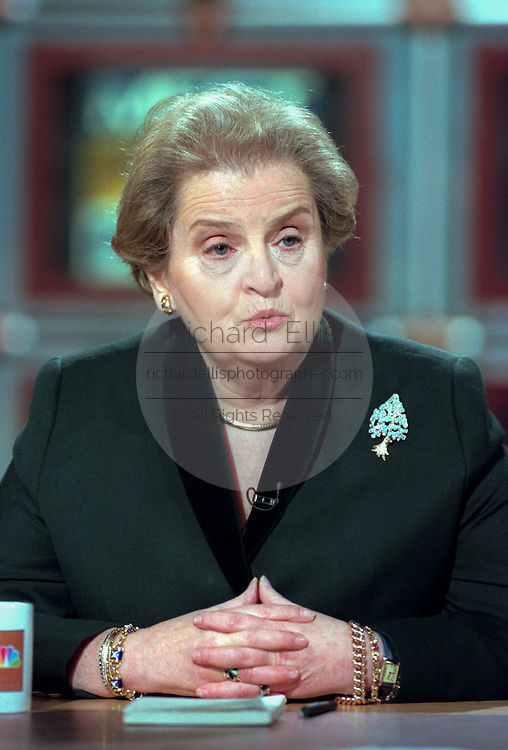 U.S. Secretary of State Madeleine Albright discusses the US airstrikes on Iraq during NBC's Meet the Press December 20, 1998 in Washington, DC. Albright declared the strikes a success.