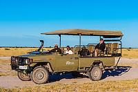Safari vehicle, Nxai Pan National Park, Botswana.