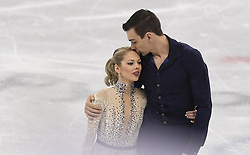 February 8, 2018 - Pyeongchang, South Korea - CHRIS KNIERIM kisses his wife, ALEXA SCIMECA KNIERIM Friday, February 9, 2018, before competing in the pairs Short Program Team event on opening day of the Figure Skating Team competition at the Winter Olympic Games in at the Gangneung Ice Arena in Pyeongchang, S. Korea.  Photo by Mark Reis, ZUMA Press/The Gazette (Credit Image: © Mark Reis via ZUMA Wire)