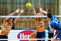 Puric Diko of ACH Volley and Okroglic Jure of ACH Volley during volleyball match between ACH Volley Ljubljana (SLO) and Kuzbas Kemerevo (RUS) n 2nd Round, group B of 2019 CEV Volleyball Champions League, on December 11, 2019 in Hala Tivoli, Ljubljana, Slovenia. Grega Valancic / Sportida