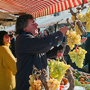 Farmer selling fruit and vegetables at market stall in Nice, France