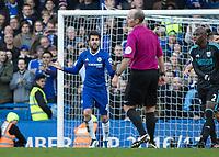 Football - 2016 / 2017 Premier League - Chelsea vs. WBA<br /> <br /> Cesc Fabregas of Chelsea questions referee Mike dean over a decision at Stamford Bridge.<br /> <br /> COLORSPORT/DANIEL BEARHAM